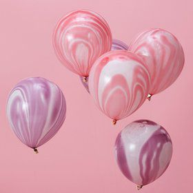 "Ginger Ray 12"" Pink & Purple Marble Latex Balloons (10)"