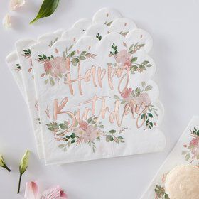 Ginger Ray Ditsy Floral Happy Birthday Napkins (16)