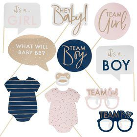 Ginger Ray Gold Foiled Gender Reveal Photo Booth Props