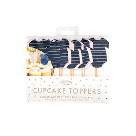 Ginger Ray Gold Foiled Pink And Navy Cupcake Toppers