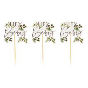 "Ginger Ray ""Hey Baby"" Botanical Cupcake Toppers"