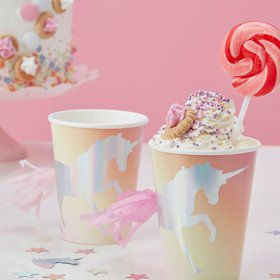 Ginger Ray Make a Wish Foiled Unicorn Tassel Paper Cups (8)