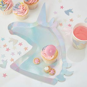 Ginger Ray Make a Wish Unicorn Shaped Plates (8)