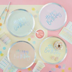Ginger Ray Pastel Party Assorted Foil Happy Birthday Lunch Plates (8)