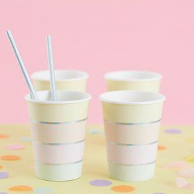 Ginger Ray Pastel Party Foil Stripe 9oz. Cups (8)