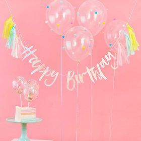 Ginger Ray Pastel Party Happy Birthday 6.5' Tassel Banner