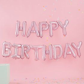 Ginger Ray Pastel Party Light Pink Happy Birthday Letter Balloon Banner