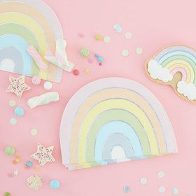 Ginger Ray Pastel Party Pastel Rainbow Beverage Napkins (16)