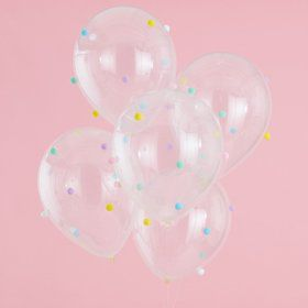 Ginger Ray Pastel Party Pom Pom Detail Latex Balloons (5)