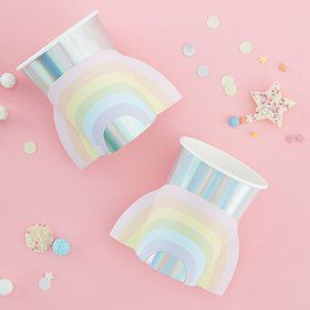 Ginger Ray Pastel Party Pop-Out Rainbow 9oz. Cups (8)