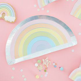Ginger Ray Pastel Party Rainbow Shape Foiled Lunch Plates (8)