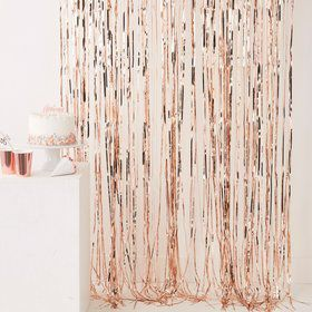 Ginger Ray Rose Gold 8' x 3.25' Fringe Curtain