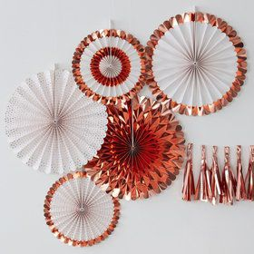 Ginger Ray Rose Gold Assorted Foiled Fan Decorations (5 Count)