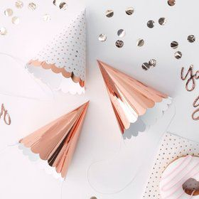 Ginger Ray Rose Gold Assorted Scalloped Party Hats (6)