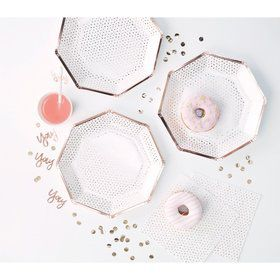 Ginger Ray Rose Gold Foiled Edge Spotty Lunch Plates (8)