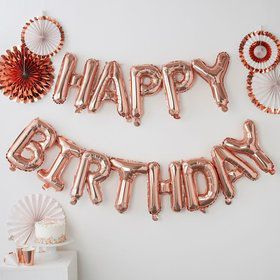 Ginger Ray Rose Gold Happy Birthday Letter Balloon Banner