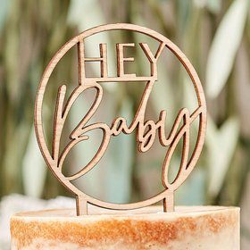 "Ginger Ray Wooden ""Hey Baby"" Cake Topper"
