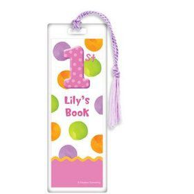 Girls' Polka Dot 1st Birthday Personalized Bookmark (each)
