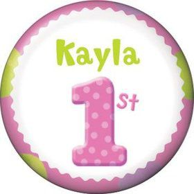 Girls' Polka Dot 1st Birthday Personalized Mini Magnet (each)