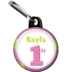 Girls' Polka Dot 1st Birthday Personalized Mini Zipper Pull (each)