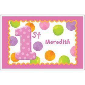 Girls' Polka Dot 1st Birthday Personalized Placemat (each)