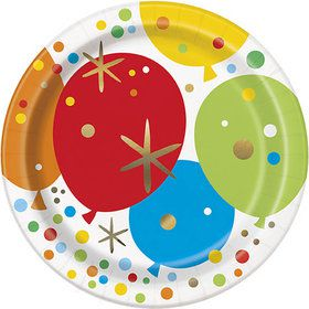"Glitzy Gold Birthday 7"" Plates (8)"