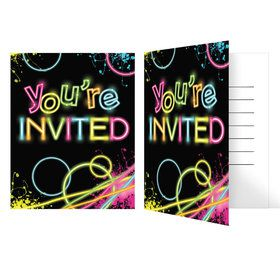 Glow Party Birthday Party Invitations (8 Count)