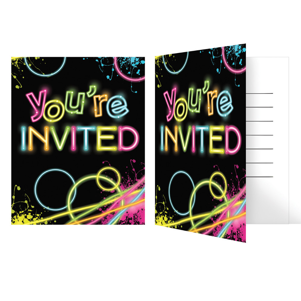Glow Party Birthday Party Invitations (8 Count) 39938340841 | eBay