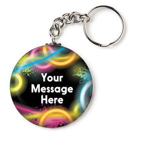 "Glow Party Personalized 2.25"" Key Chain (Each)"
