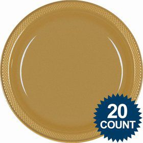 "Gold 10"" Plastic Dinner Plates (20 Pack)"
