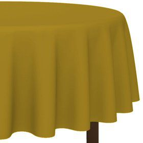 "Gold 84"" Round Table Cover (Each)"