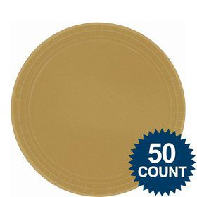 """Gold 9"""" Luncheon Paper Plates (50 Pack)"""