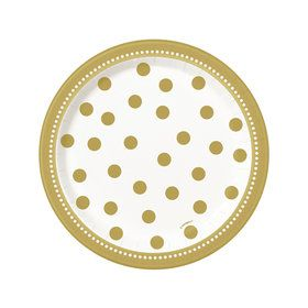 Gold and White Birthday Dessert Plates (8)