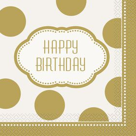 Gold and White Birthday Lunch Napkins (16)
