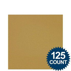 Gold Beverage Napkins (125 Pack)