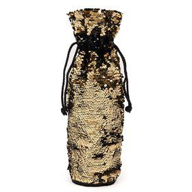 Gold Black Reversible Sequin Wine Bag