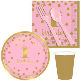 Gold Confetti 1st Birthday Girl Snack Pack for 16