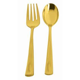 Gold Serving Fork and Spoon