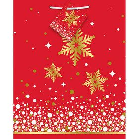 Gold Sparkle Snowflake Medium Gift Bag (1)
