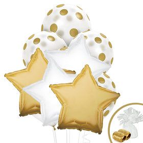 Gold White Balloon Bouquet