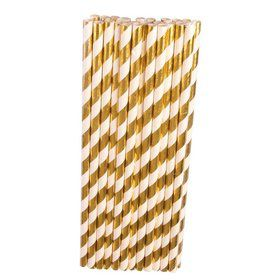 Gold & White Paper Straws (24)