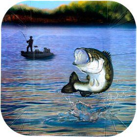 "Gone Fishin' 7"" Plates-Square (8 pack)"