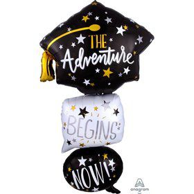 "Grad Cap Bubbles 61"" Shaped Foil Balloon"