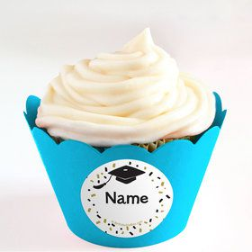 Grad Hats Off Personalized Cupcake Wrappers (Set of 24)