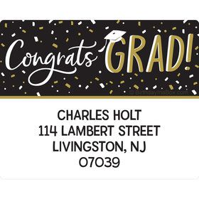 Grad Hats Off Personalized Rectangular Stickers (Sheet of 15)