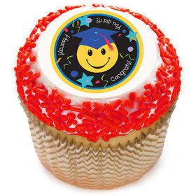 "Grad Smile Face 2"" Edible Cupcake Topper (12 Images)"