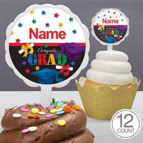 Grad Spirit Personalized Cupcake Picks (12 Count)