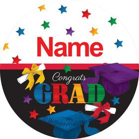 Grad Spirit Personalized Mini Stickers (Sheet of 24)