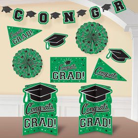 Graduation 10 Piece Room Decorating Kit Green