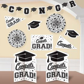 Graduation 10 Piece Room Decorating Kit White